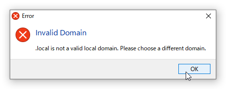 .local is not a valid local domain.  Please choose different domain
